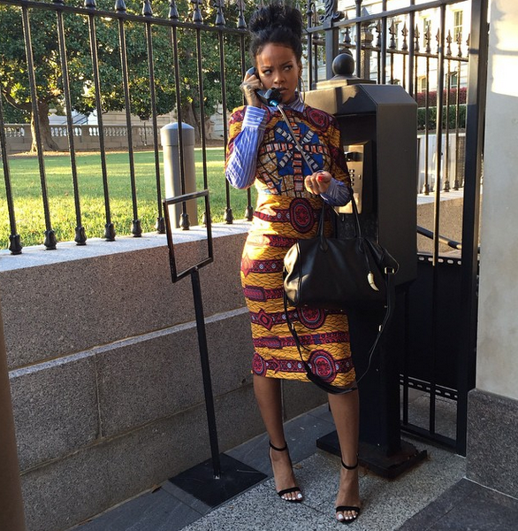Karen-Civil-vs.-Rihanna-in-Stella-Jeans-Mix-Print-Shirt-Dress
